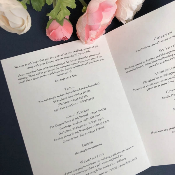 Wedding Information Sheet