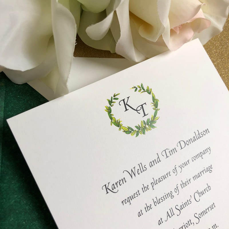 Merriott wedding invitation
