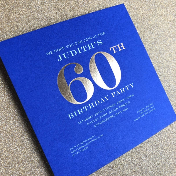 foiled birthday invitations