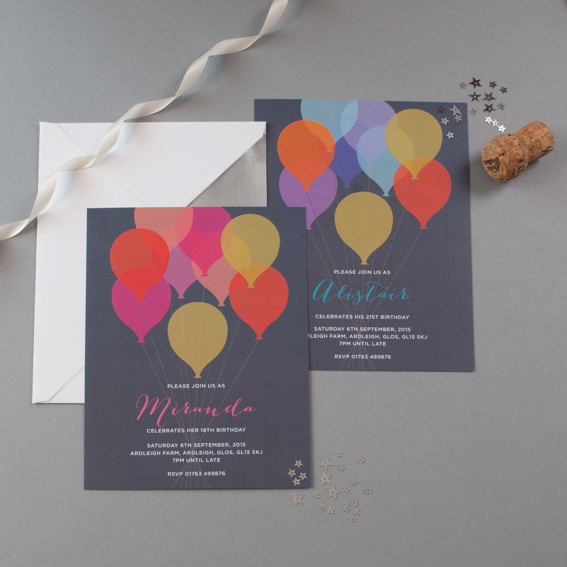 balloon birthday invitations
