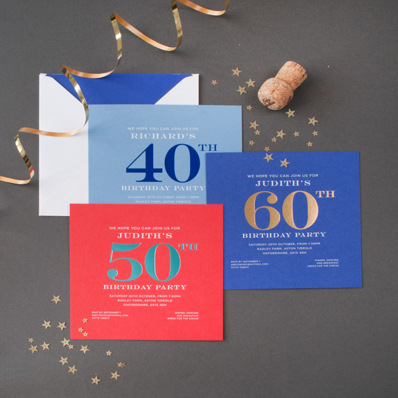 foiled birthday invitations