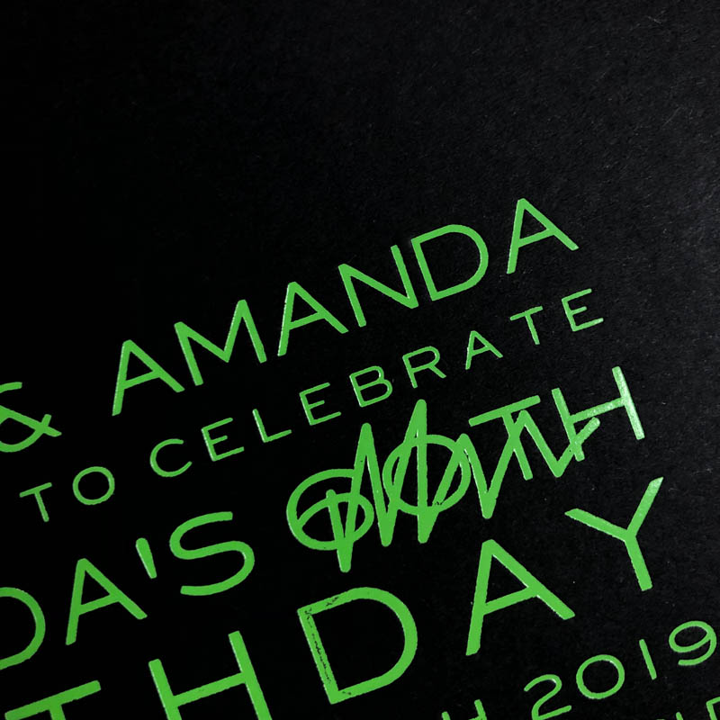 Black and green birthday invitation