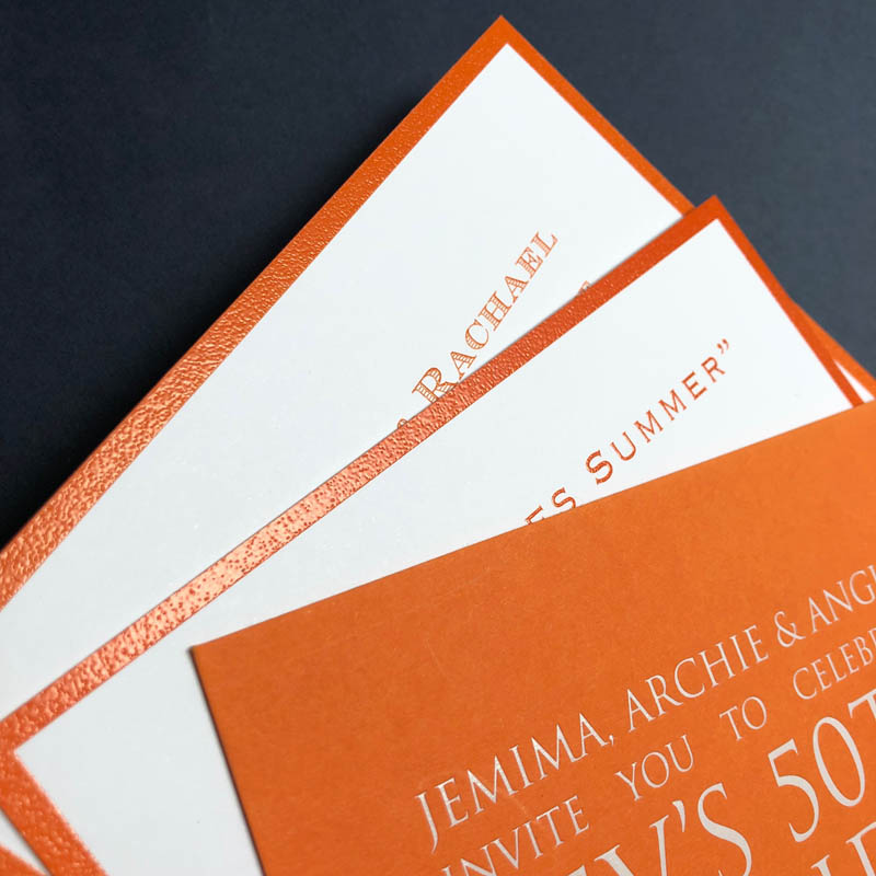 Orange party invitations