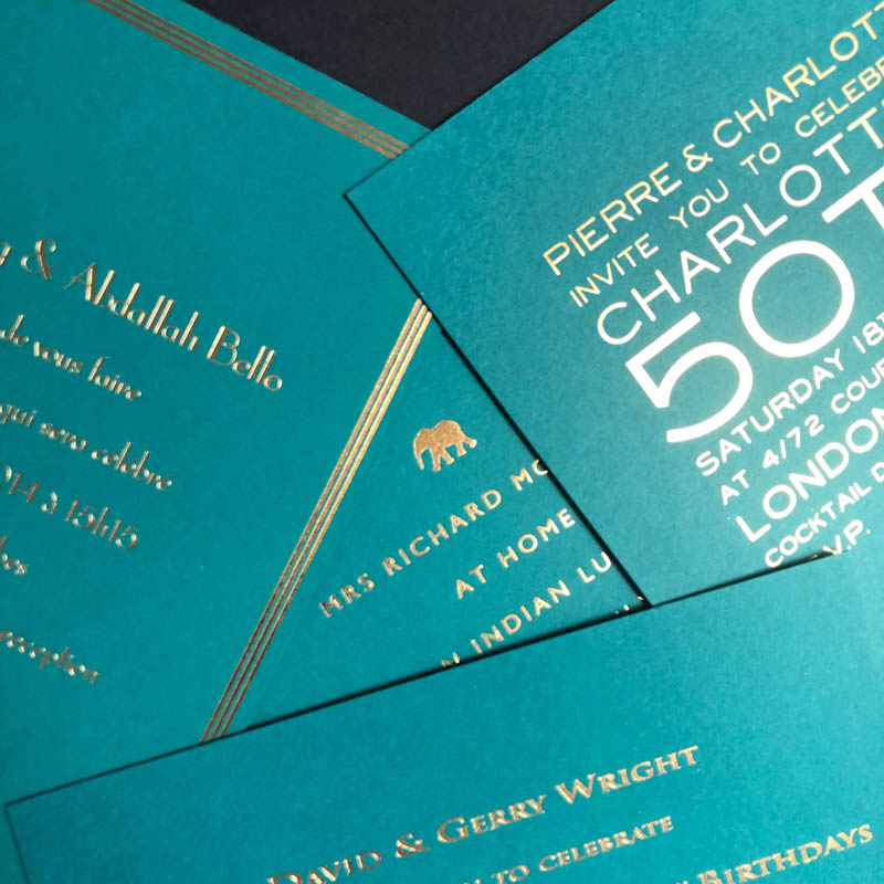 Teal party invitations