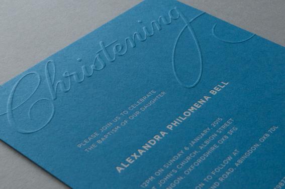 embossed christening invitation