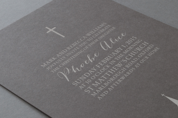 Simple Cross Christening Invitations