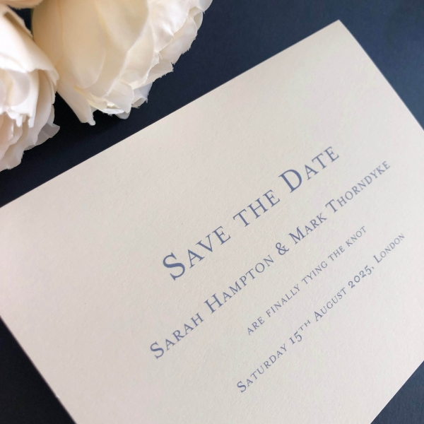 Bevel Blue Save the Date cards