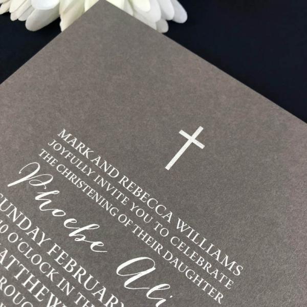 Simple Cross Christening Invitation