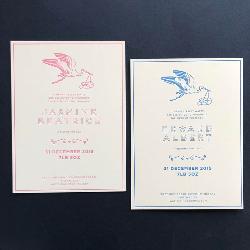 letterpress stork birth announcement