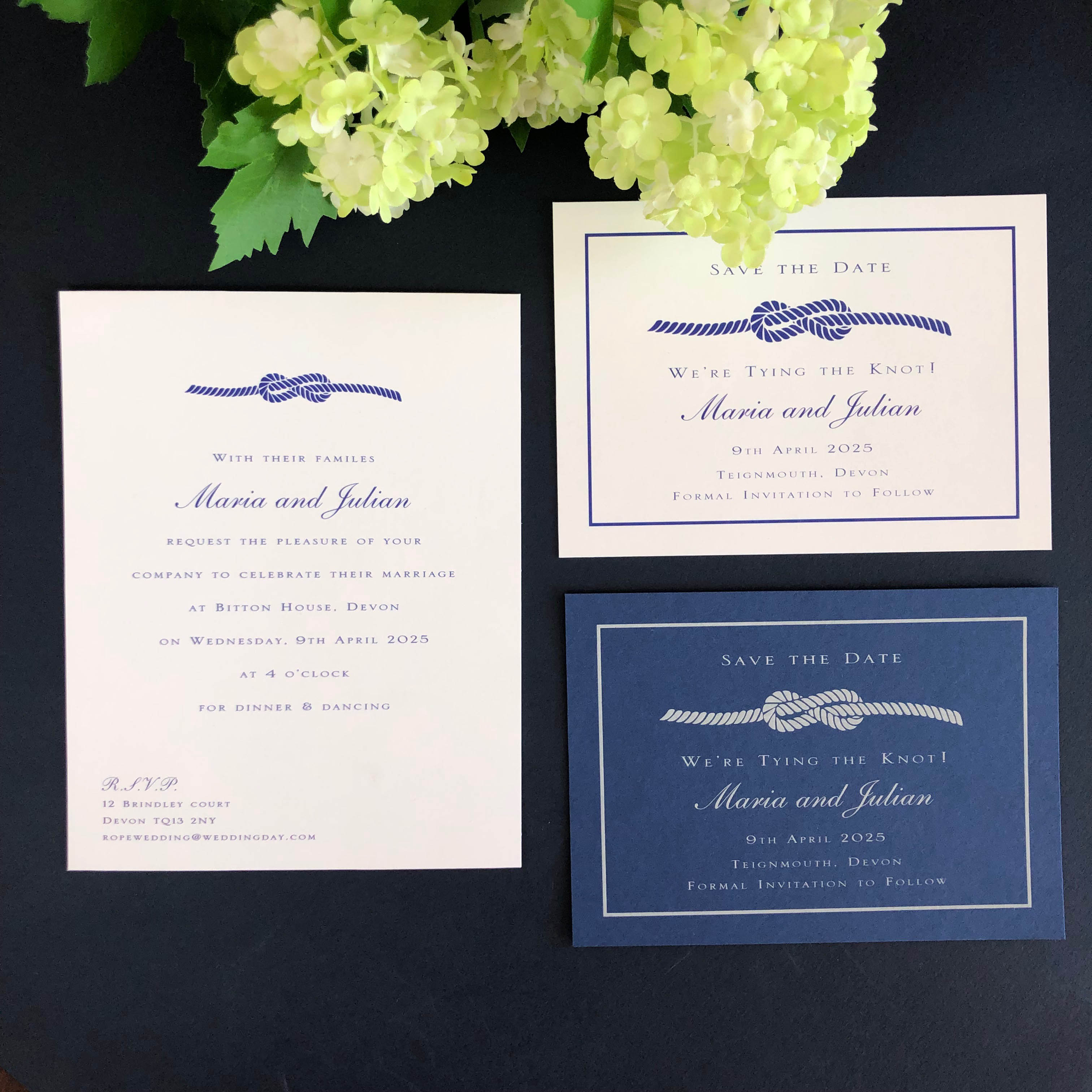 knot save the date cards