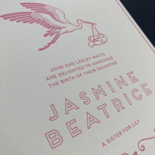 letterpress stork birth announcement