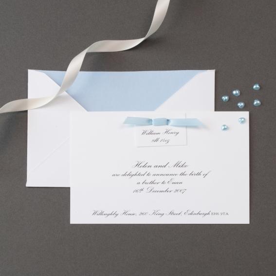 Luxury ribbon birth announcement