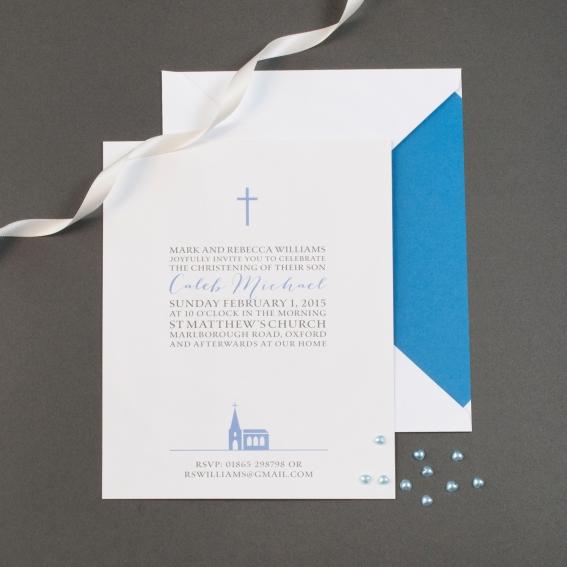 white simple cross christening invitation