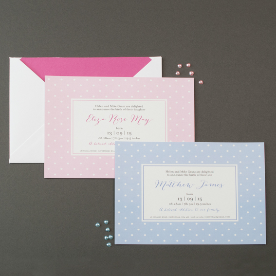 polka dot birth announcement